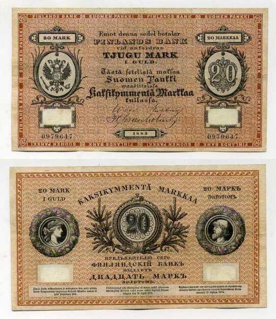 RUSSLAND FÜR FINNLAND 20 MARK GOLD 1883 Pick A47 b, Ryabchenko 27789 Papier 10-2-2-2 - Foto 1