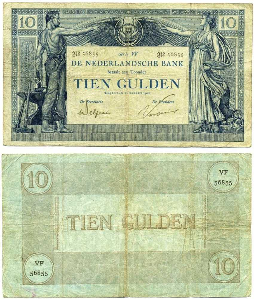 NETHERLANDS 10 GULDEN 1904 (1921) series VF Pick 34, Akkermans 25.4 b paper 451-249-2 - photo 1