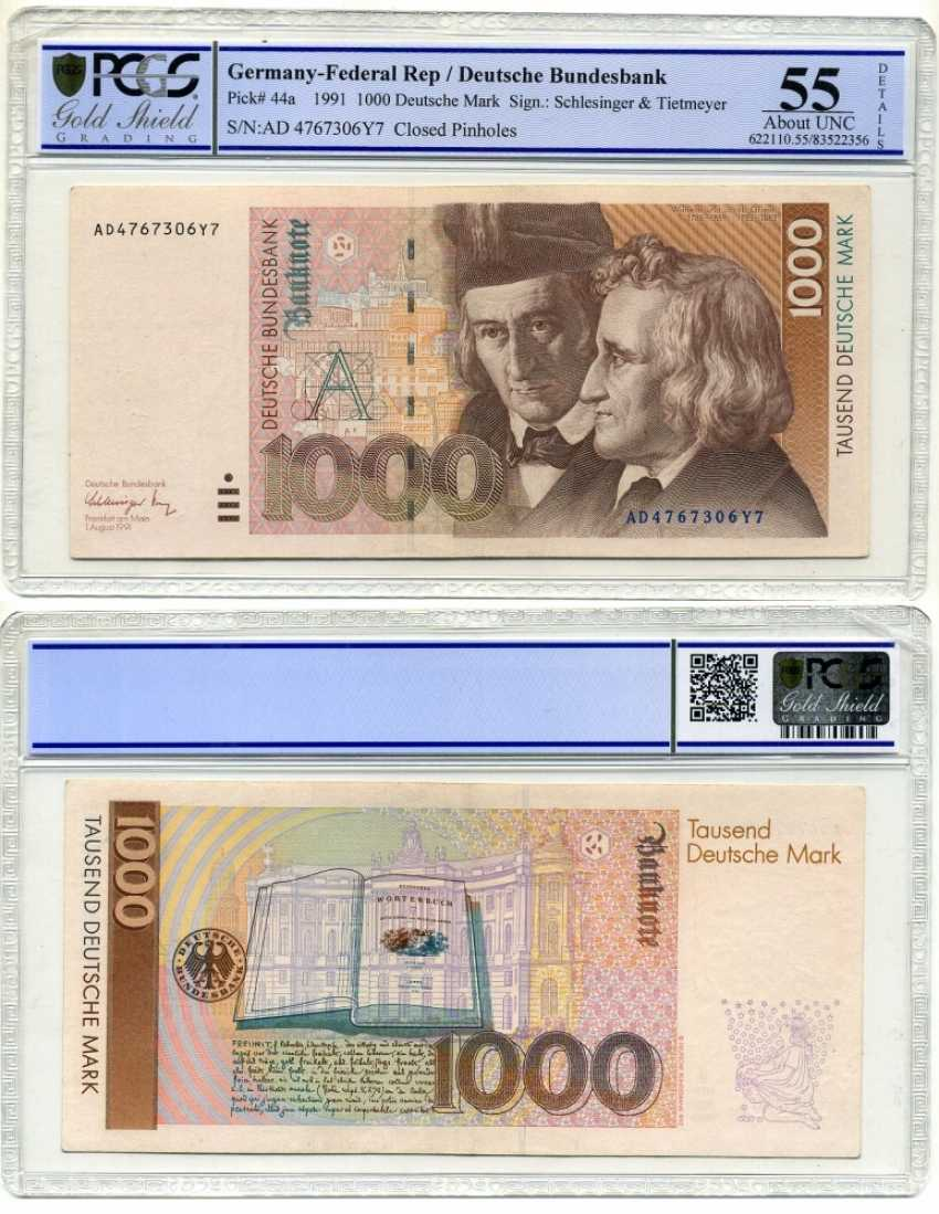 Germany 1000 MARKS 1991 the BROTHERS GRIMM, in milder PCGS 55 About UNC Pick 44a paper (UNC press) 10-2-5 - photo 1