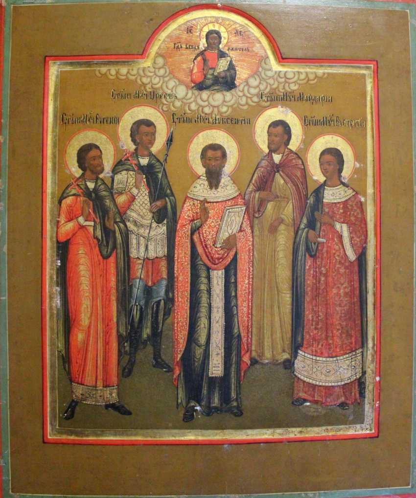 """Icon """"the Cathedral of Saints with St. Eugene"""". Moscow, XIX century - photo 2"""