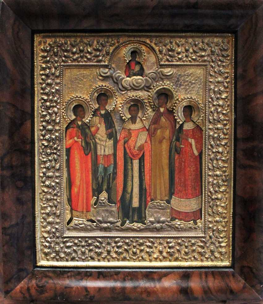 """Icon """"the Cathedral of Saints with St. Eugene"""". Moscow, XIX century - photo 3"""