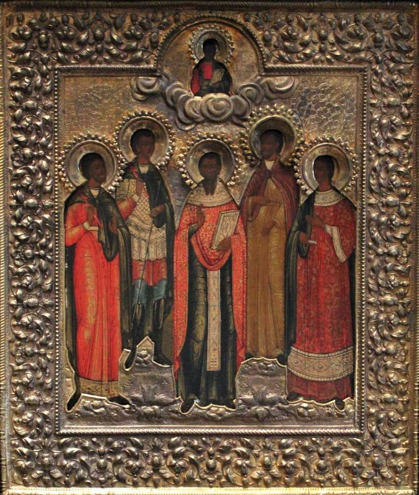 """Icon """"the Cathedral of Saints with St. Eugene"""". Moscow, XIX century - photo 1"""
