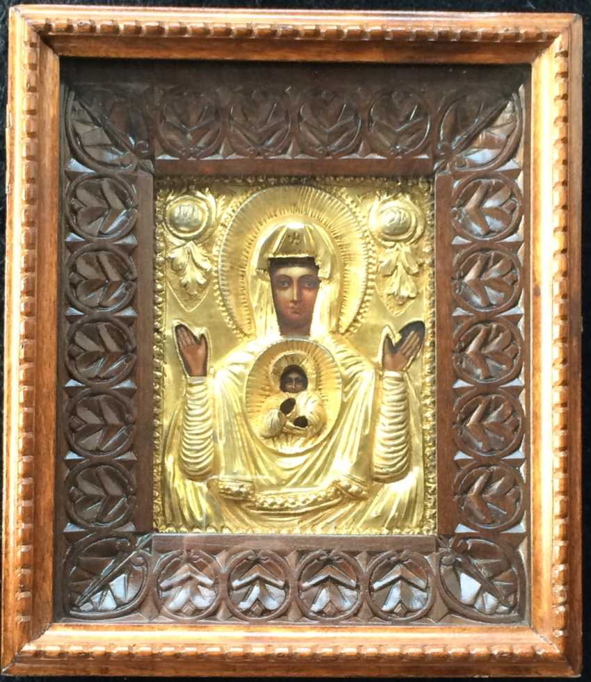 "Icon ""The Virgin Of The Sign"". Egor centurions, 1861. Saint-Petersburg. - photo 1"
