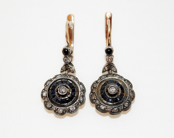 Earrings with diamonds and sapphires - photo 1