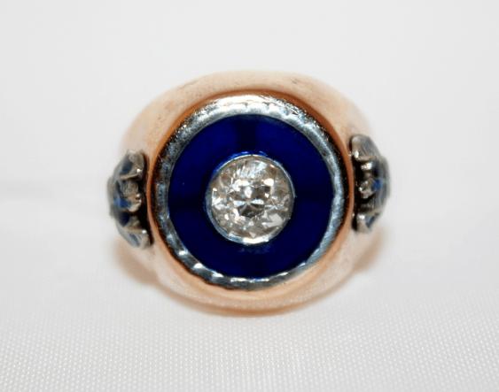 Bague avec diamant et de l'émail - photo 2