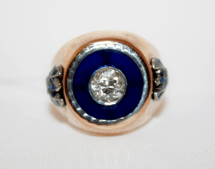 Ring with diamond and enamel - photo 2