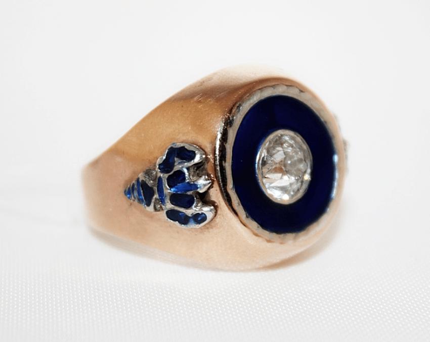 Bague avec diamant et de l'émail - photo 1