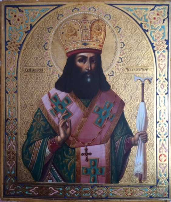 "The icon was consecrated at the tomb of the Saint ""St. Theodosius of Chernigov"". Chernigov ,1898 - photo 1"