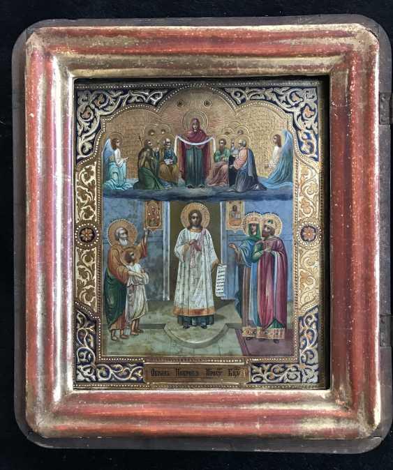 """Icon """"Intercession Of The Theotokos"""". Moscow, XIX century. - photo 2"""