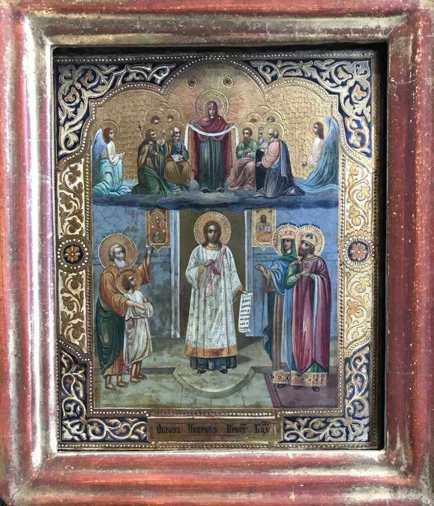 """Icon """"Intercession Of The Theotokos"""". Moscow, XIX century. - photo 3"""