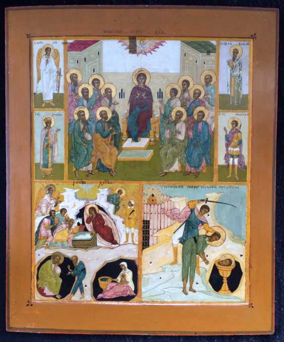 """Believers"""" Trekhchastny with selected saints""""Central Russia, mid XIX century - photo 1"""
