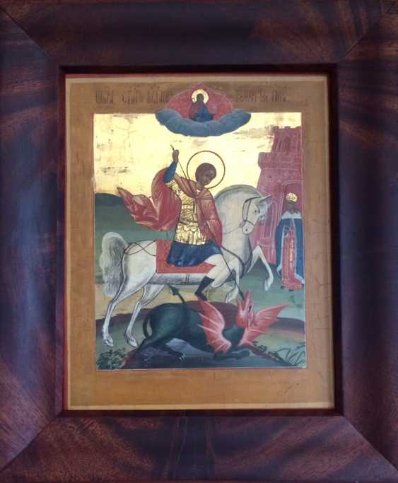 """The Icon Of """"SV. Great Martyr George The Victorious"""". Central Russia, XIX century. - photo 2"""