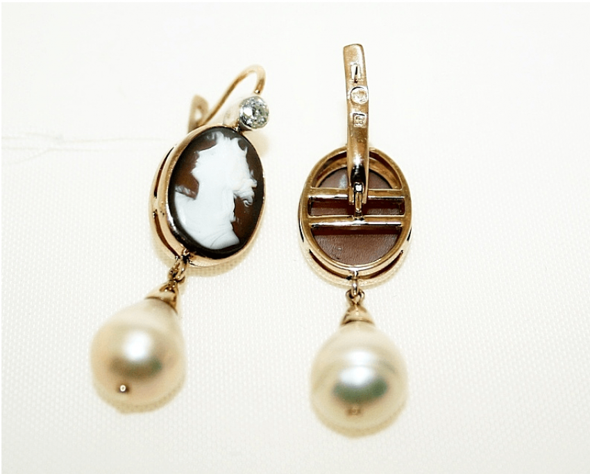 Earrings cameo with diamond and pearls - photo 2