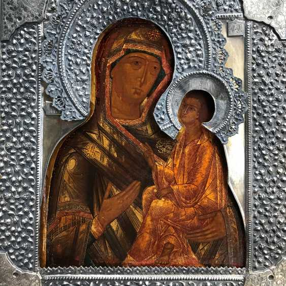 """Icon """"our lady of Iveron (homemaker)"""". Moscow, 1889 - photo 3"""