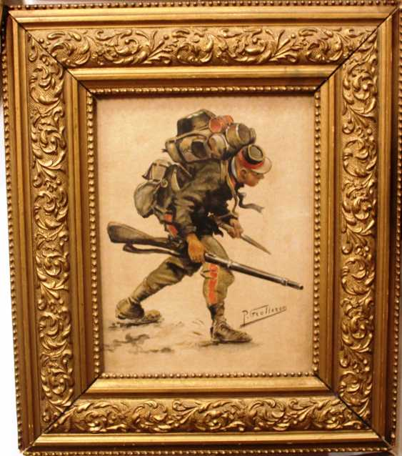 """The Picture Is """"Soldiers"""". Artist P. Grolleron. France, XIX century - photo 1"""
