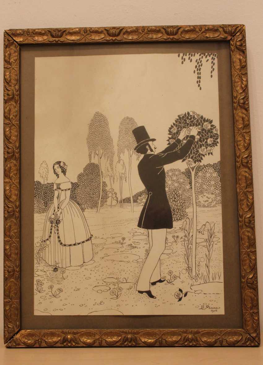 """V. Fiala """"Rendezvous im Garten"""", 1914 - Foto 1"""