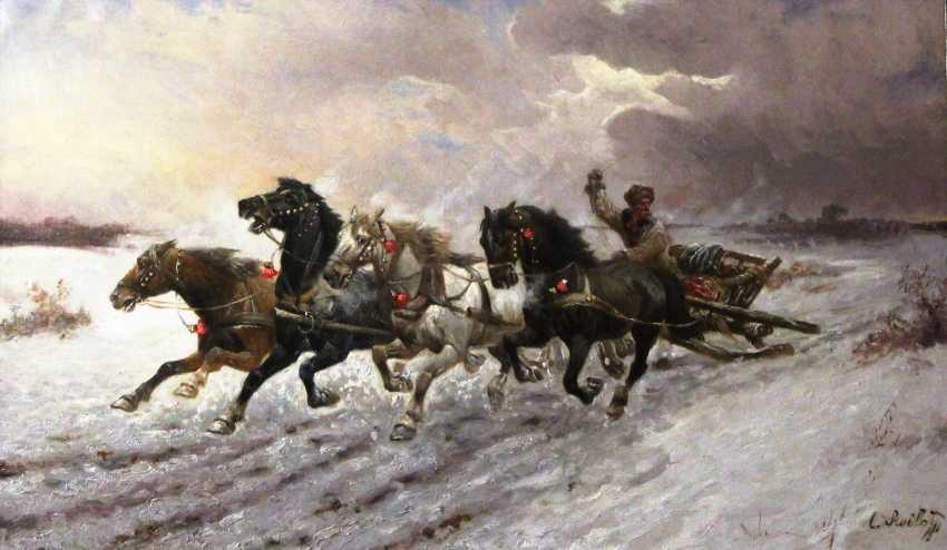 """Ställe.Das Bild """"Vier Pferde"""", K. XIX u. XX Jh. - Foto 1"""