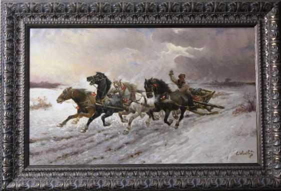 """Ställe.Das Bild """"Vier Pferde"""", K. XIX u. XX Jh. - Foto 2"""