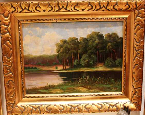 "The painting ""Forest lake"" by A. Hentel. Germany. - photo 1"