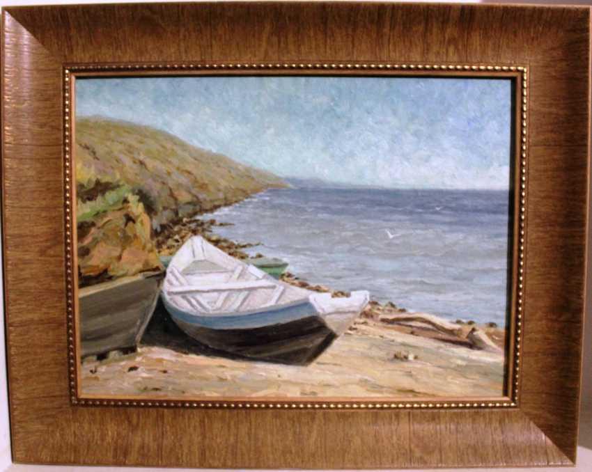 """Mitrofanov N. F.""""Boat on the Volga river""""1969. - photo 1"""