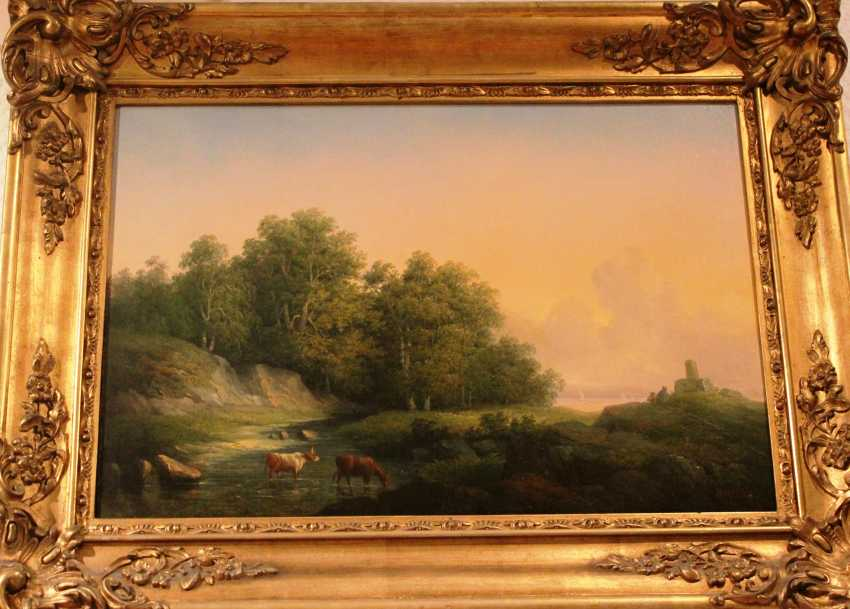 "Teodor Biling (1817-1892). ""Landscape with cows"" , XIX century - photo 2"