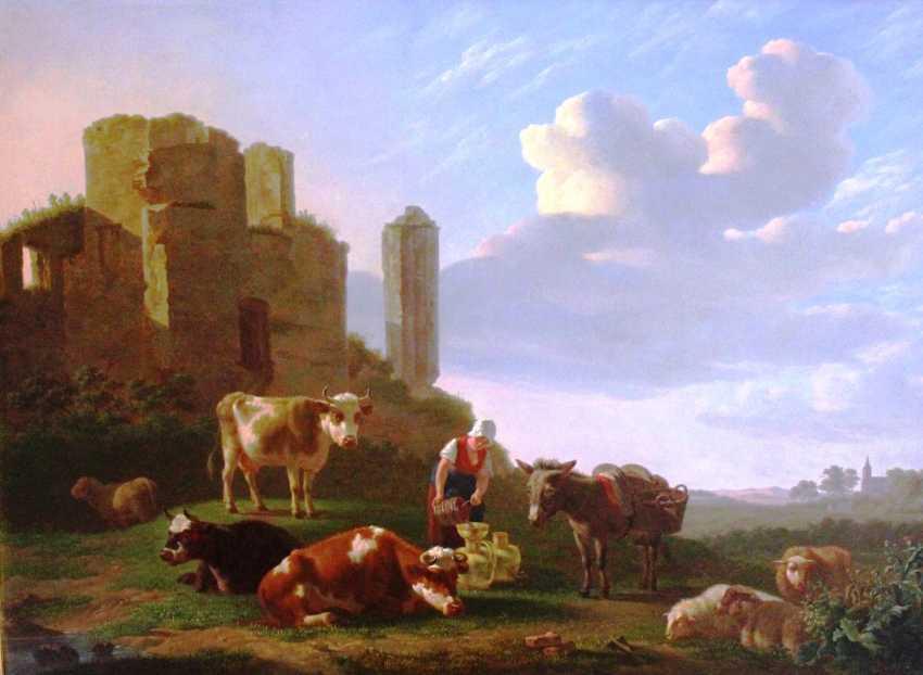 """Gregoor Gillis Smak. """"Пасторальный пейзаж"""", конец XVIII в. - фото 1"""