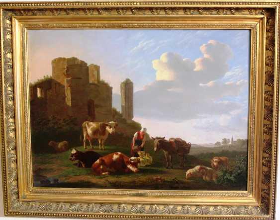 """Gregoor Gillis Smak. """"Пасторальный пейзаж"""", конец XVIII в. - фото 2"""