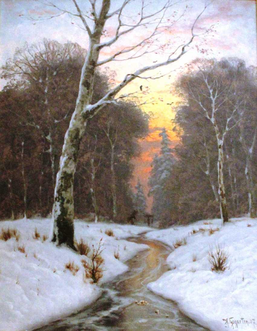 """Heinrich Gogarten. """"Winter evening"""", XIX - n. XX centuries. - photo 1"""