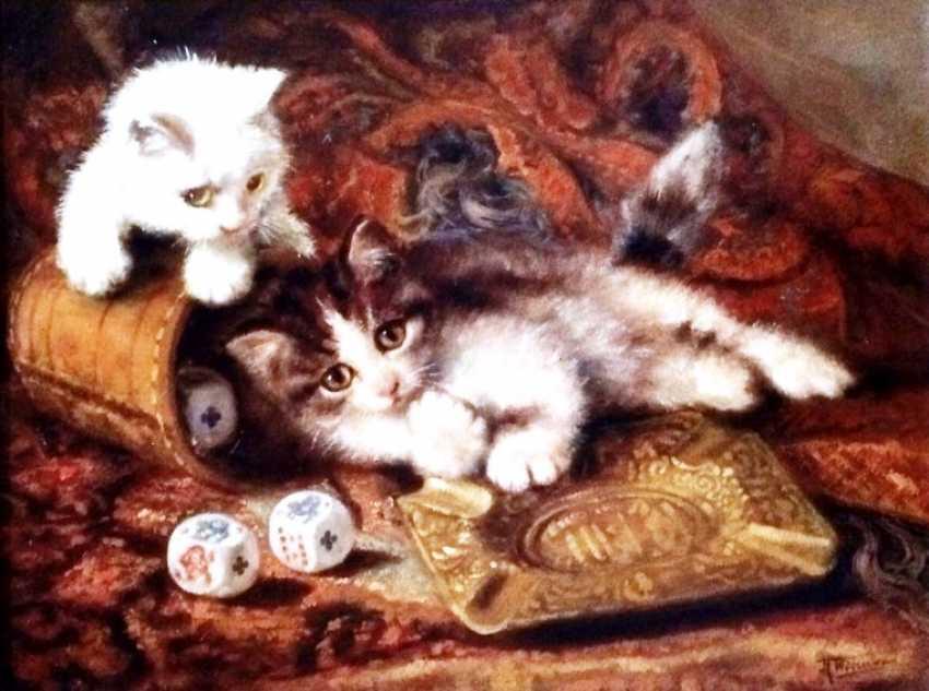 """Johannes Wouterus van Trirum. """"Playing kittens"""", XX century. - photo 1"""