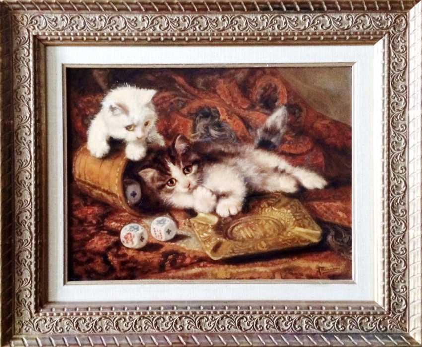 """Johannes Wouterus van Trirum. """"Playing kittens"""", XX century. - photo 3"""