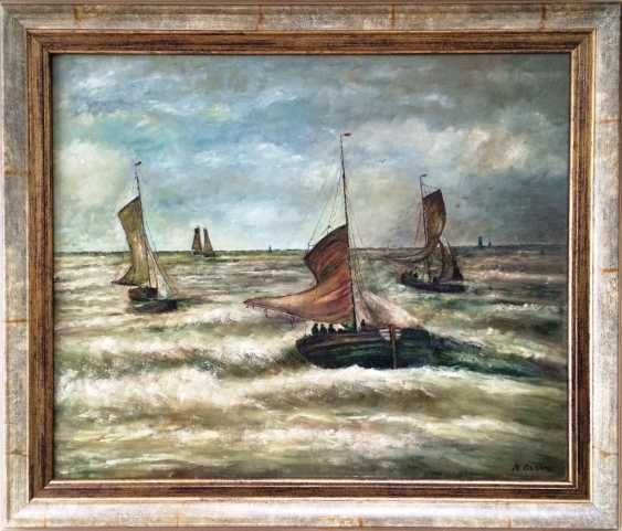 """N. Mesdag. """"Les navires dans la mer déchaînée"""", c. XIX - n. XX siècles - photo 1"""