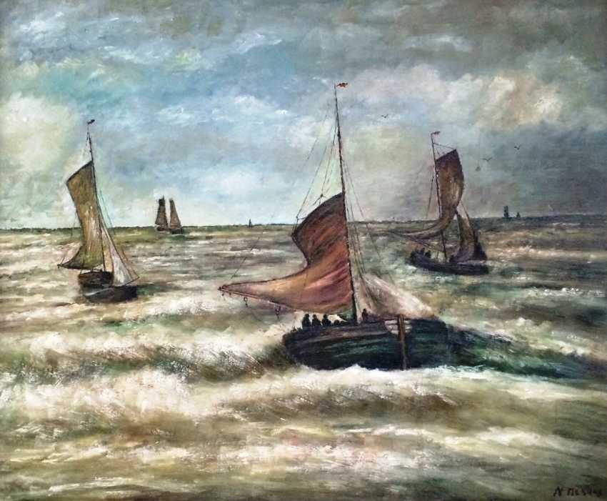 """N. Mesdag. """"Les navires dans la mer déchaînée"""", c. XIX - n. XX siècles - photo 2"""