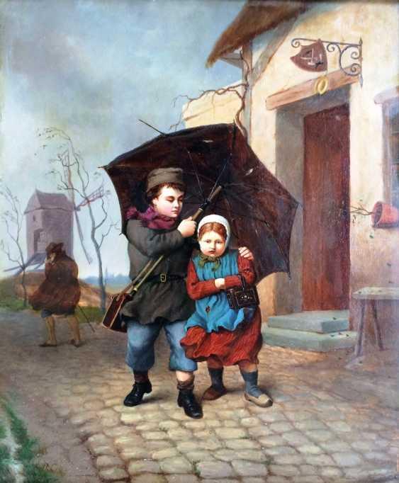 "E. Dubar. ""Two under an umbrella"", XIX century - photo 2"