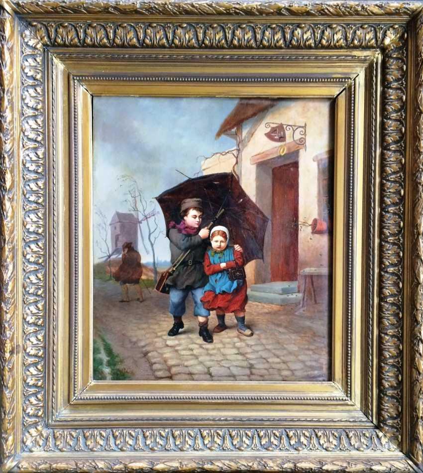 "E. Dubar. ""Two under an umbrella"", XIX century - photo 1"