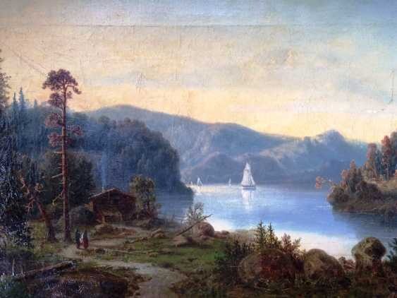 """The Alps. Mountain lake"". Monogram: BB. XIX century. - photo 2"