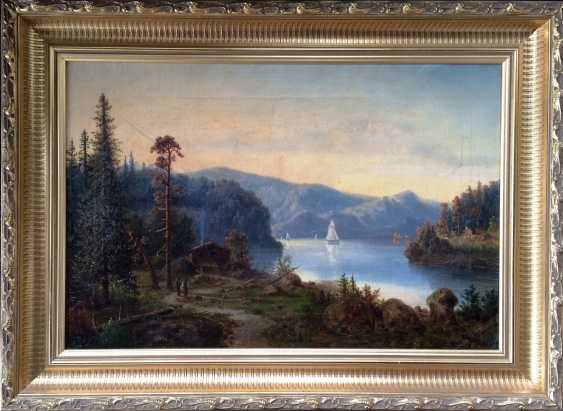 """The Alps. Mountain lake"". Monogram: BB. XIX century. - photo 1"