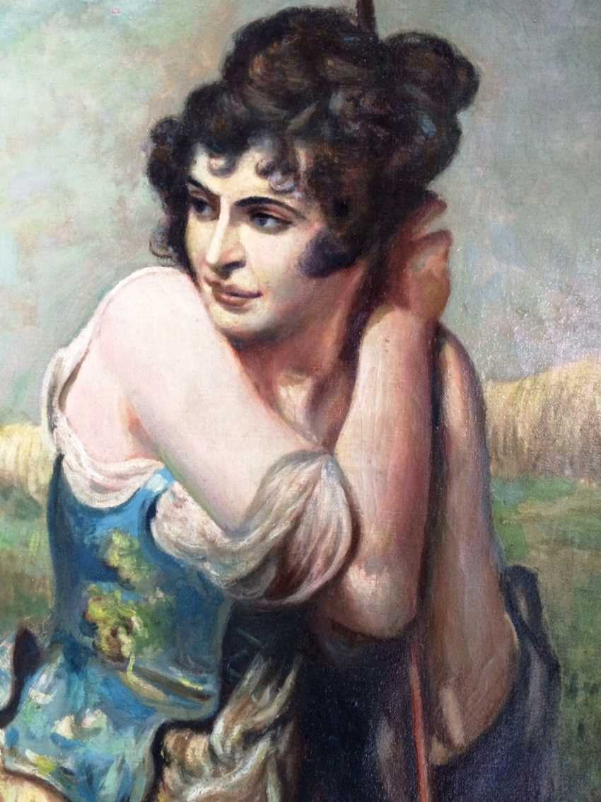 """Biron J. """"la jeune Fille au seigle"""", XIXE siècle - photo 2"""