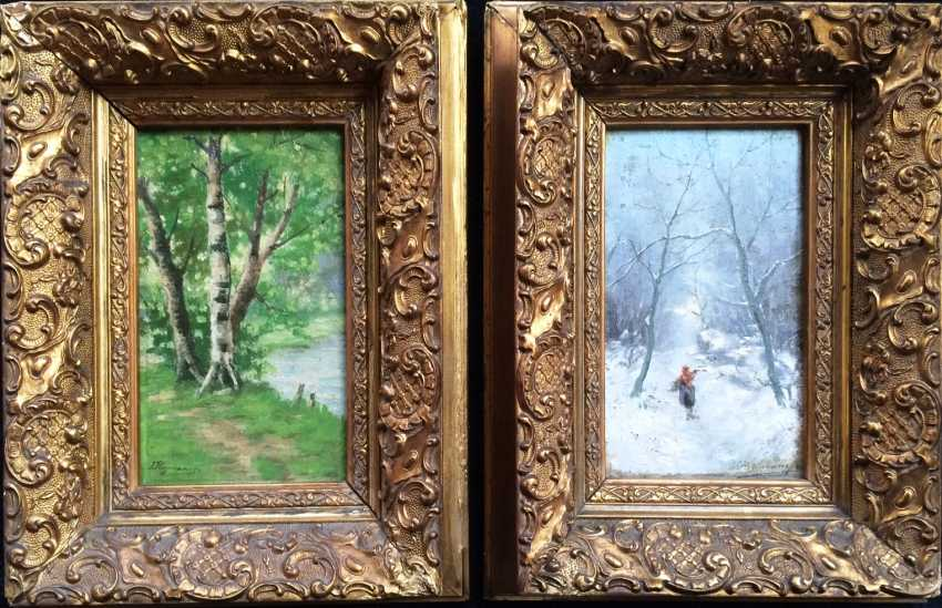 "Jozef Heymans. Pair of paintings ""Summer"" and ""Winter"", the XIX - beginning of XX centuries. - photo 1"