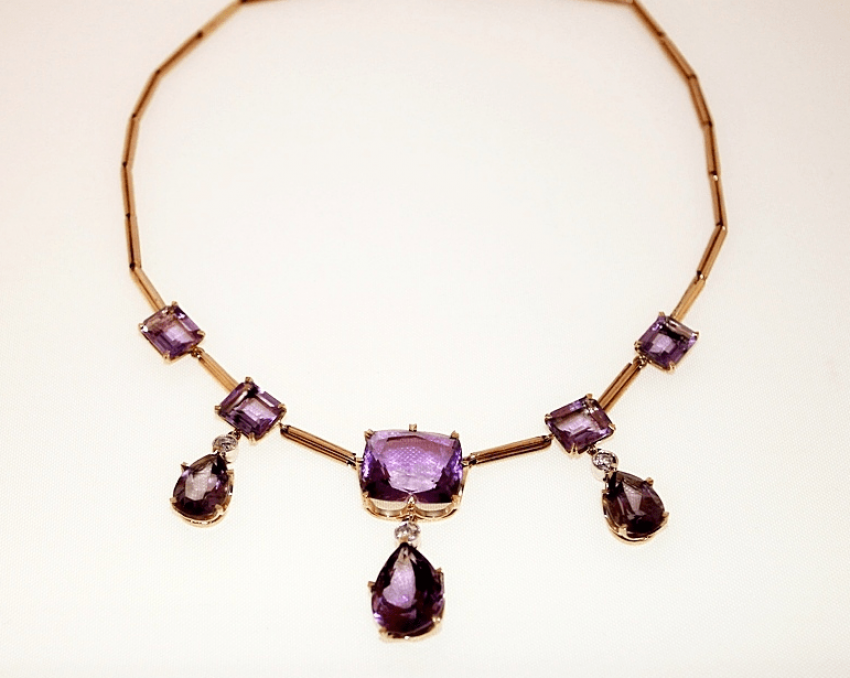 Necklace with amethysts and diamonds - photo 1