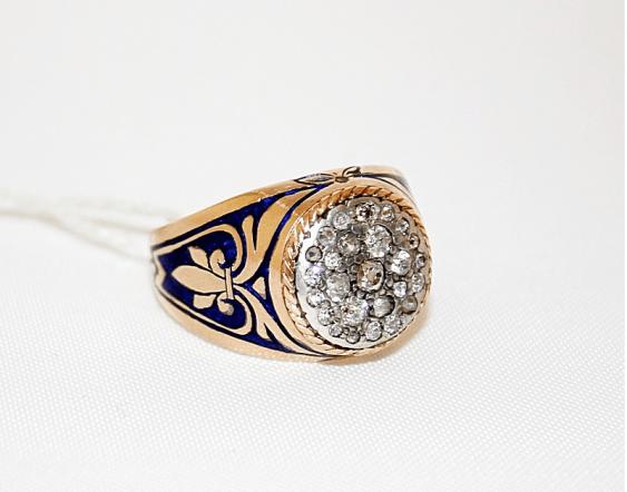 Ring mit Diamanten und Emaille - Foto 1