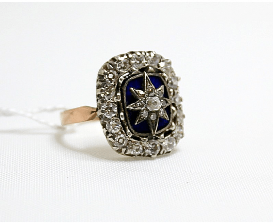 Ring with diamonds and enamel - photo 1