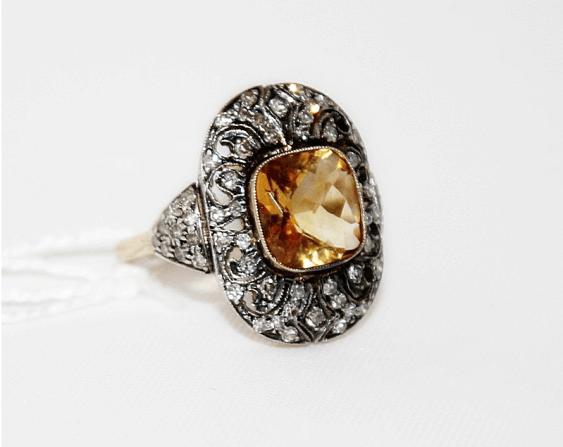 Ring mit Citrin und Diamanten - Foto 1