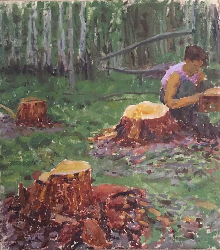 "Azgur (Gorelova) - ""Mushroom glade"", 1952 - photo 1"