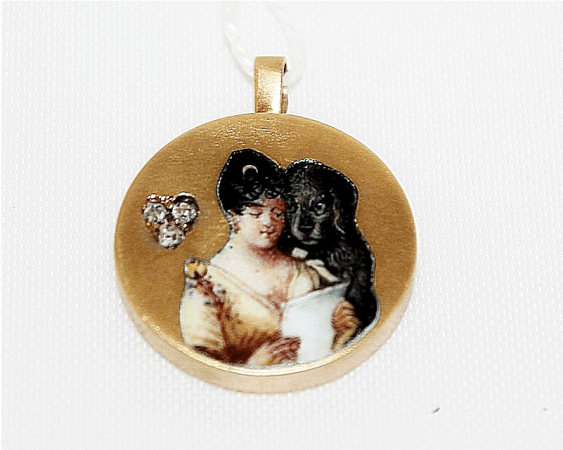 Pendant with enamel and diamonds - photo 1
