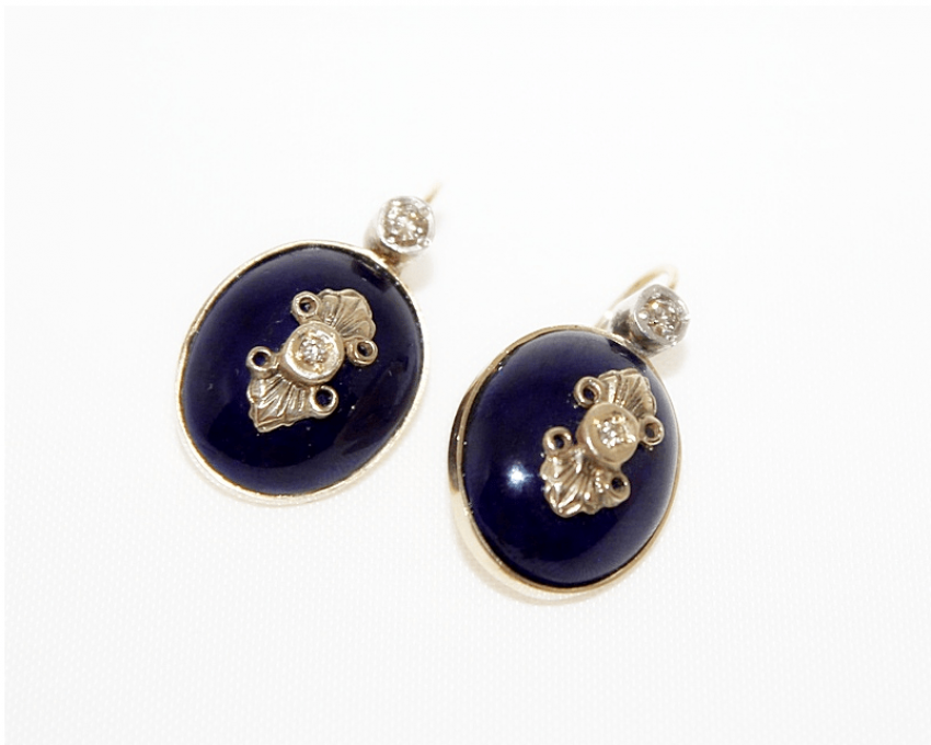 Earrings with enamel and diamonds - photo 1