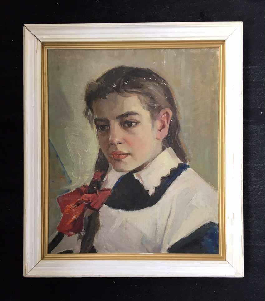 """Rozhkov V. Z. - """"Portrait of Svetlana"""", 1955 - photo 1"""