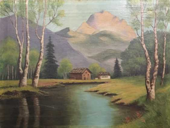 """Large pre-war Russian landscape. Signed """"N. To. 41"""", XX century. - photo 1"""