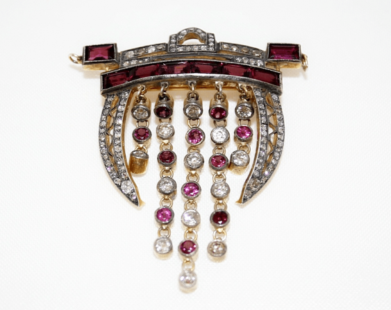 Brooch with diamonds and tourmalines - photo 1