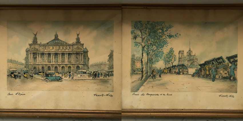 """Pair of paintings, """"Paris"""". Europe, 1st half of XX century. - photo 1"""