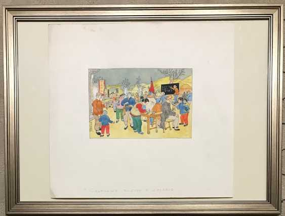 """Chinese watercolor """"Free elections in the country"""", ser. Of the twentieth century. - photo 2"""